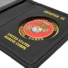 U S Marine Corps Military Mens Black Leather Bi Fold Billfold Medallion Wallet