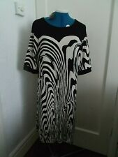 NWT HOBBS black and ivory loose style dress size 14 short sleeves zebra pattern