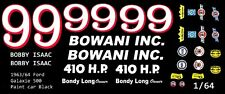 #99 Bobby Isaac 1963-64 Ford Bowani 1/64th Ho Scale Slot Car Waterslide Decals