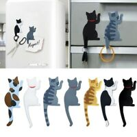 Multifunction Magnetic Refrigerator Cute Cat Sticker Fridge Magnet Hanging Hooks
