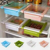 Kitchen Fridge Slide Case Storage Boxes Space Shelf Organizer Drawer Holder 2PC