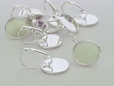 6 Pairs -12 Earrings Findings Lever Back 16mm Round Setting Photo Silver Plated