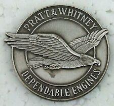 Pratt & Whitney Engine Badge Medallion 2 Inch Dia. Brushed Stainless Steel Look