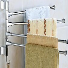 Bathroom Towel Wall-Mounted Stainless Steel 4 Bars Washroom Napkin Rack Holder
