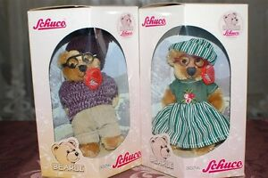 Schuco Bearli Grandpa Grandma Opa Oma Bears Collectible Mohair NIB Set of 2
