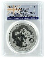 2012 Australia 1oz Silver Lunar Dragon w/Lion Privy PCGS MS70 - Flag Label