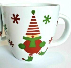 """Crate And Barrel Set 4 Christmas Tea Cups 4"""" Tall Jingle Elf Espresso Elves"""