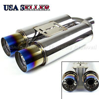 "FOR EURO CAR!1X N1 STYLE SPORT DEEP TONE DUAL 3.5"" EXHAUST MUFFLER+BURNT TIPS"