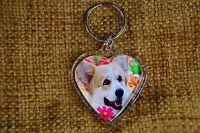 Corgi Dog Gift Keyring Dog Key Ring heart shaped Birthday gift Mothers Day Gift