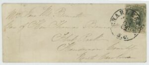 Mr Fancy Cancel CSA 1 LADY'S COVER TIED CHARLESTON SC CDS TO FLAT ROCK NC CV$300