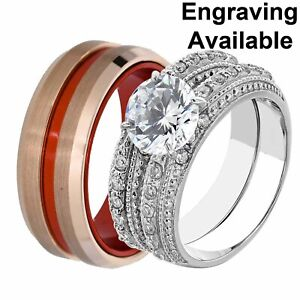 His & Hers Stainless Steel Round CZ Wedding Ring Sets Tungsten Men Band CF