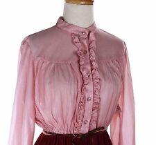 Pink Dainty Ruffle 80s Vintage Dress - Flowy Burgundy Skirt  - Sz M - Hey Viv