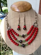 Sterling Silver Smokey Quartz, Peridot and ?Coral Set of Necklace and Earrings