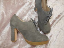 TALBOTS gray suede platform high heel lace up booties granny boots size 7.5