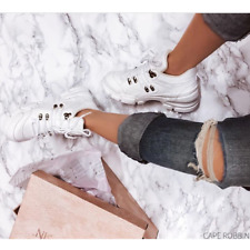 Cape Robbin Super Power White Lace Up Chunky Sole Utility Sneaker