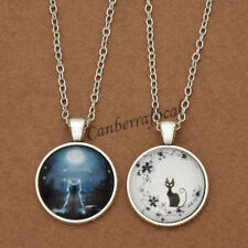Fashion Day Flower Night Moon Cat Cabochon Glass Round Pendant Necklace Jewelry
