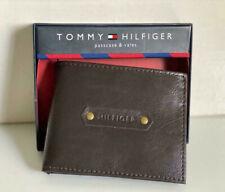 NEW! TOMMY HILFIGER BROWN GENUINE LEATHER BILLFOLD PASSCASE & VALET WALLET SALE