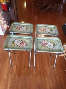 Vintage Metal TV Trays with Stands+ Caddy Green w/ Flowers. Shabby Chic Set of 4