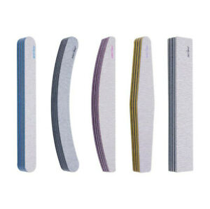 50PCS Nail Files 100/180/240 Grit Professional Quality-Half Moon-Curved-Diamond
