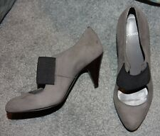 Carvela Grey Suede & Black Strap Round Toe Slim Heel Mary Jane Shoes - Size 5