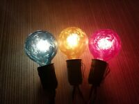 """3 Vintage Style Frosted 1 1/2"""" Diameter Christmas Bulbs In Blue, Yellow & Red"""