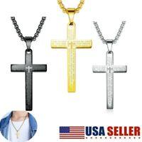 Men Women Stainless Steel Lord's Prayer Bible Cross Pendant Necklace Chain