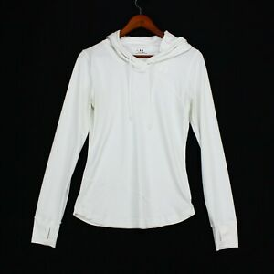 Under Armour Womens Long Sleeve Hooded Pullover Activewear Top White Size MD