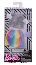 Barbie Complete Look Fashion Doll Outfit - Gray Top and Rainbow Skirt NEW