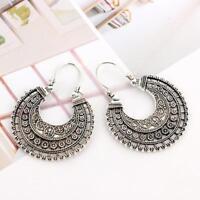 Lady Hoop Earrings Ethnic Tribal Aztec Hippy Dangle Silver Tibetan Jeweller J9H5