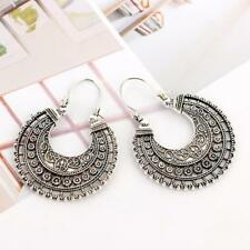 Lady Hoop Earrings Ethnic Tribal Aztec Hippy Dangle Silver Tibetan Jewellery Hot