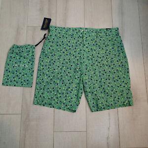 NWT POLO GOLF Ralph Lauren 36 men's shorts green floral stretch nylon quick dry