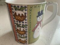 Royal Doulton Fine China ~ Let It Snow Coffee Tea Mug/Cup ~ Snowman, Tree 1999