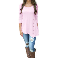 Womens Long Sleeve Loose Blouse Ladies Tops Casual Button T-Shirt  Tunic Shirt