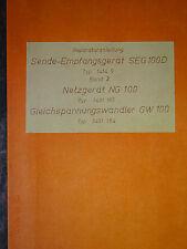 SEG 100D  Reparaturunterlage Bd1 NG100, GW100, RFT / Funkwerk Köpenick