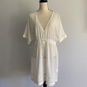 Athleta White Cover Up Cotton Swimwear Casual Dress Size M