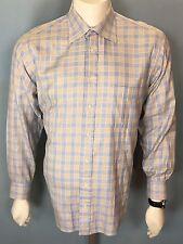 Burberry London L/S Button Down Shirt Blue Tan Pastels Shimmer  16R Large L $229