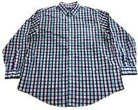 Brooks Brothers Mens Blue Plaid Front Pocket Button Front Shirt Size 1XL