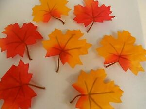 48 Artificial silk Fabric Autumn Maple Leaves mini stem 2 Assorted colours craft