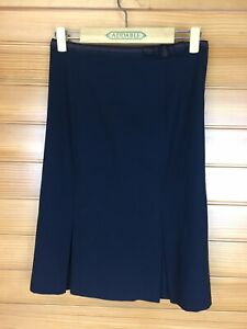 Cue Black Panelled A Line Work Skirt With Pleats At Hem Size 6 EUC