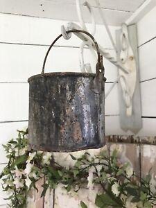 Vintage Original OLD Tin Metal PAINT KETTLE Decorators Pot DISPLAY PROP USE
