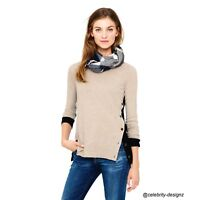 AU Winter Women's Vintage Colour Block Light Weight Wool Knit Sweater Pullover