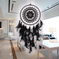 Black Handmade Dream Catcher with Feather Bead Hanging Decoration Ornament new