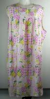 VTG Granada New York Pink Yellow Floral Sleeveless Knee Length House Dress 1X