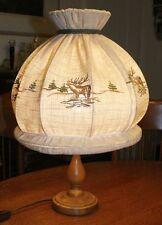 Rustic European Cabin Table Lamp. Deer Embroider Burlap Shade. Unique & Rare!