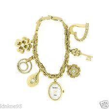 NEW Armitron Ladies Swarovski Crystal Gold-Tone Oval Charm Bracelet Watch