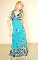 ABITO LUNGO Vestito Donna MAXI Dress COPRICOSTUME Mare VerdeAzzurro Ricamato