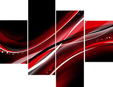 """20"""" X 40""""+ Long 4 Panel Wall Art Canvas Pictures Abstract Black Red White Print"""