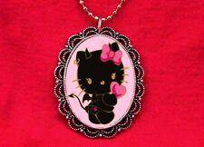 HELLO DEVIL KITTY HEART CAT HORNS PENDANT NECKLACE