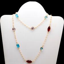 "Silver Gold Tone Necklace 17-18"" Garnet, Blue Tourmaline Gemstone .925"