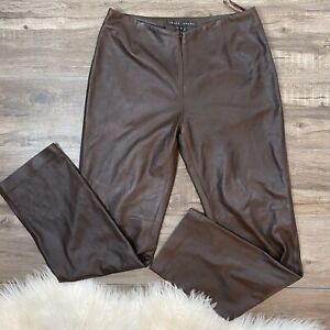 Yansi Fugel Womens Size 6 Genuine Leather Brown Pants Front Zip